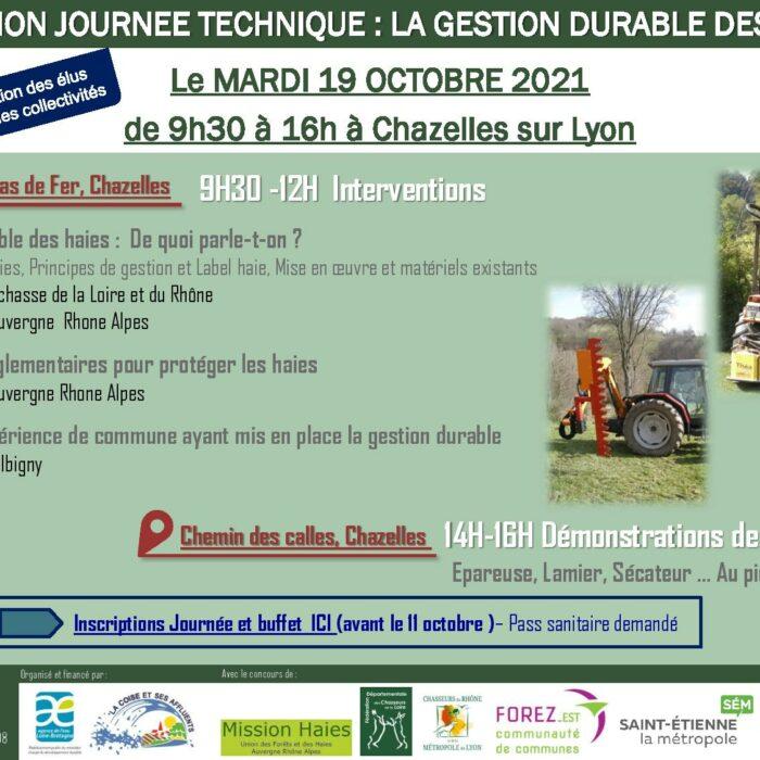 Journée technique «gestion des haies» – 19 octobre 2021 – Chazelles sur Lyon